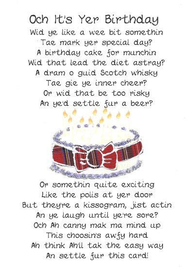 scottish birthday card cake poem click image  close