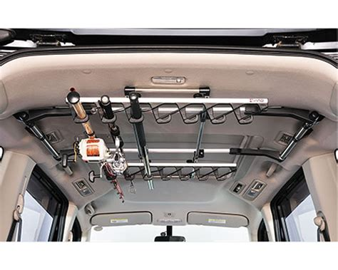 fly rod car rack carrying rigged fishing rods on pioneer platform