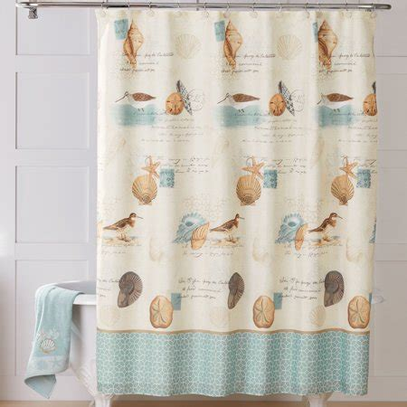 coastal shower curtains better homes and gardens coastal collage fabric shower
