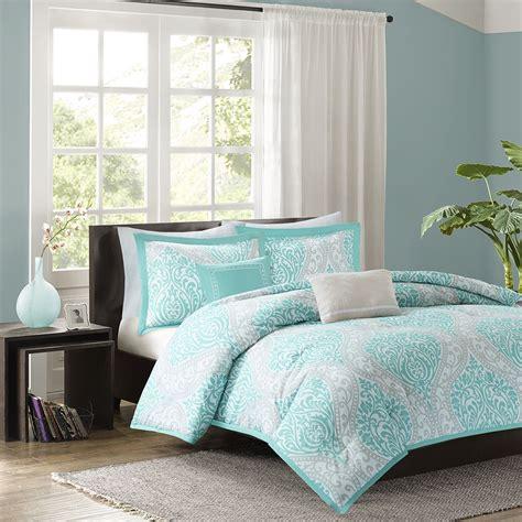 beautiful chic aqua teal light blue grey comforter set