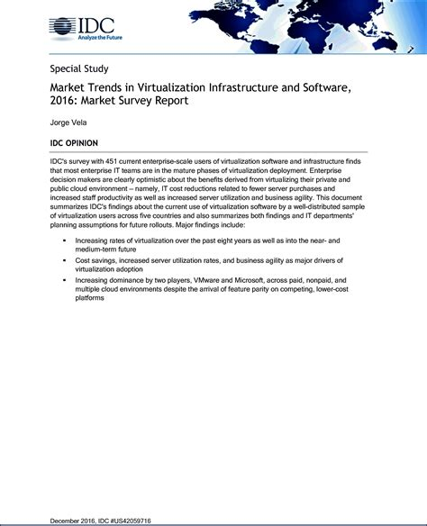 Sle Of Market Survey Report by Idc Report Market Trends In Virtualization Infrastructure