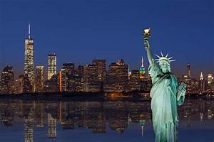Statue, Of, Liberty, And, New, York, City, Skyline, At, Sunset, With