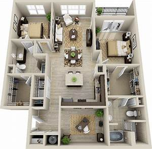 3d 2 bedroom apartment google search deco pinterest With plan de maison design 0 single family home photorealistic renderings and 3d
