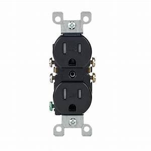 Leviton 15 Amp Tamper Resistant Duplex Outlet  Black-r55-t5320-00e