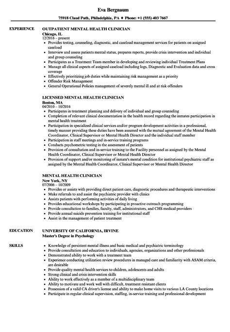 mental health clinician resume samples velvet jobs