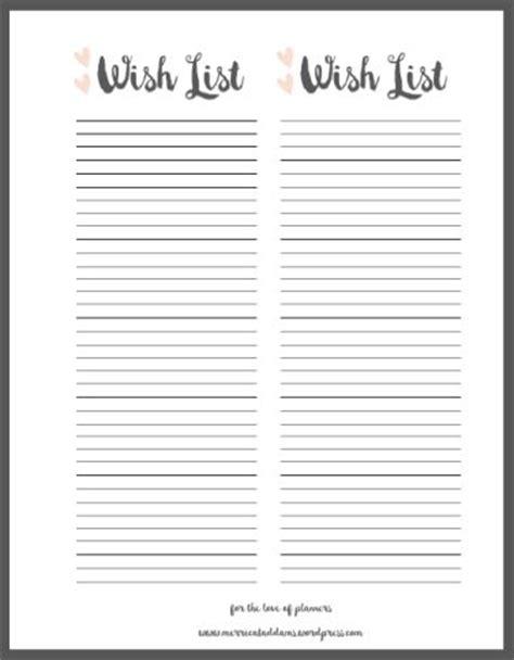 planner  list planner wishlist planner printables  printable planner