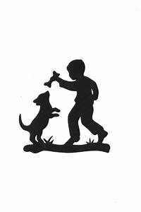 The gallery for --> Little Girl Walking Dog Silhouette