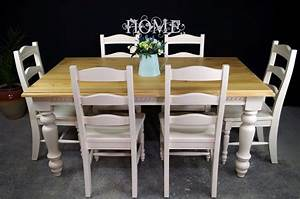6ft Carved Country Pine Farmhouse Table 8 Chairs