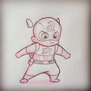 Baby Captain America Cartoon Drawing