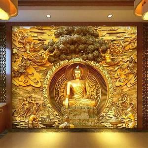 Golden Buddha Buddhist Temple Mural Custom Large Living