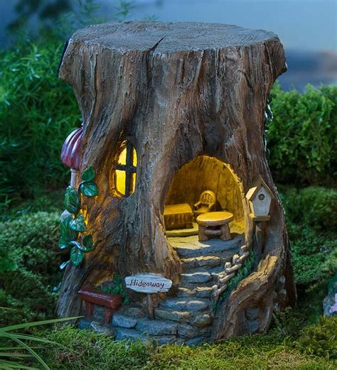 miniature garden solar staircase stump house