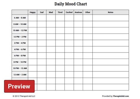 daily mood chart worksheet therapist aid