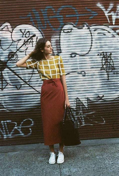 rust wear mustard caves collect colours sneakers ways spring fun outfits outfit street colour jupe dress tenis skirt parker andrea