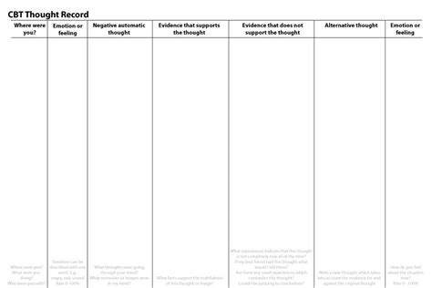 Thought Record The Best Worksheets Image Collection