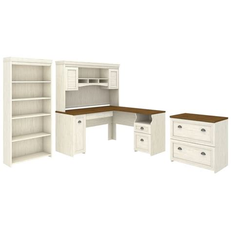 bush fairview 4 piece office set in antique white fv006aw
