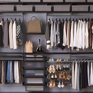 Walnut & Platinum elfa décor Closet Container store