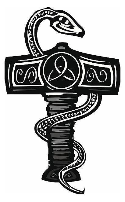 Norse God Hammer Thor Serpent Mjolnir Vector