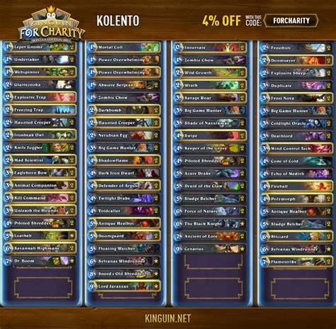 hearthstone deck list hearthstone kinguin for charity winter edition 2015