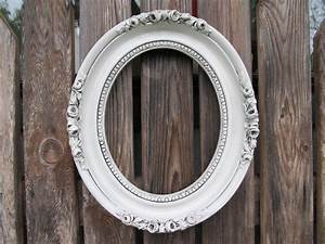 Vintage Antiqued White Oval Ornate Frame