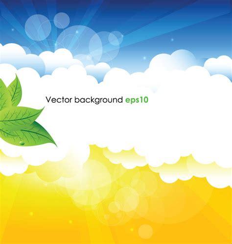 summer sun  green leaves vector background set
