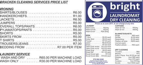 Service Prices by Laundry Price List Clean House
