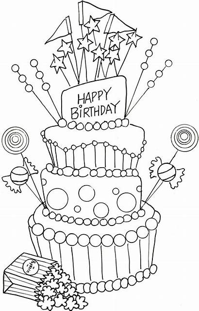 Coloring Birthday Happy Cake Pages Mom Printable