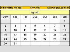 Calendário Mensal Agosto de 2020 Imprimir Mês de Agosto