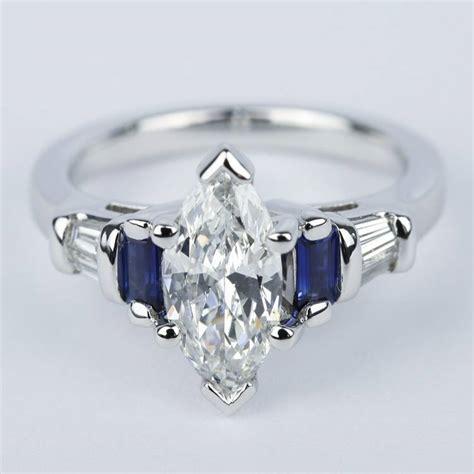 custom baguette diamond sapphire ring  marquise center