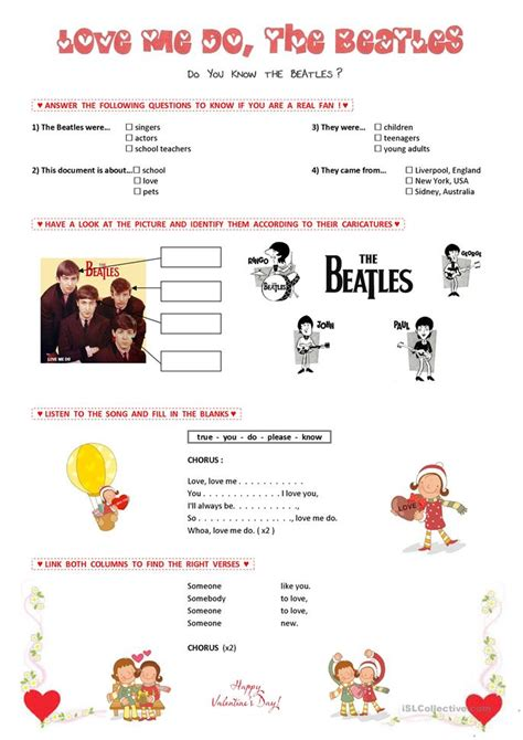 beatles worksheet  esl printable