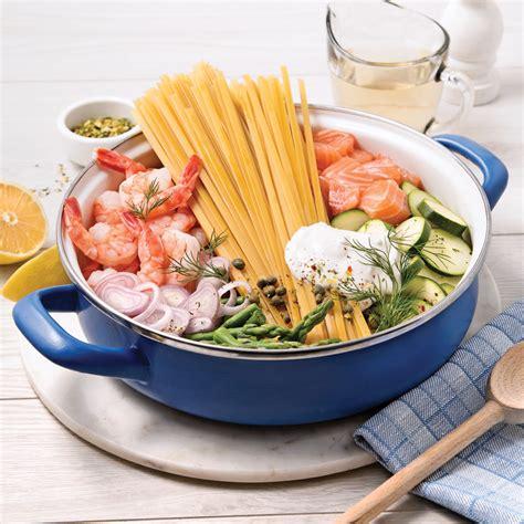 fettucines au saumon et crevettes sauce au vin blanc