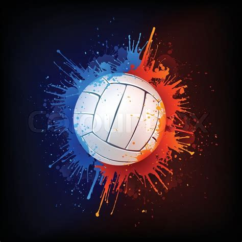 volleyball ball  paint isolated  black background