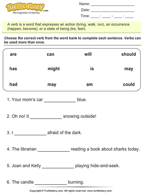 Complete Sentences With Is Am Are Worksheet  Turtle Diary