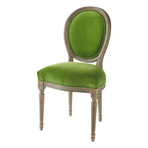 chaise verte chaise médaillon en velours et chêne massif verte louis