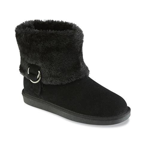 canyon river blues womens chip black faux fur fashion bootie