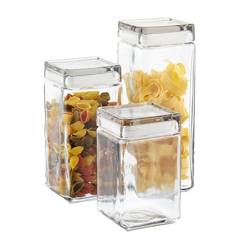 canisters sets for the kitchen anchor hocking stackable square glass canisters the