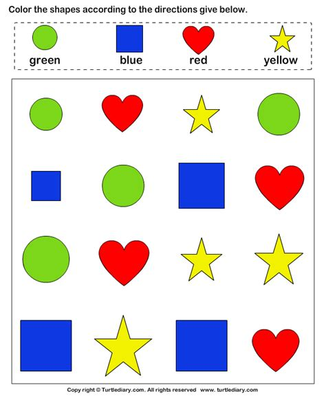 identify color identify shapes and color them worksheet turtle diary