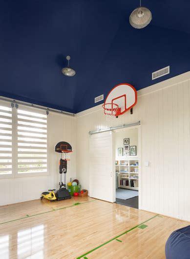 fun boys playroom basketball court  painted blue