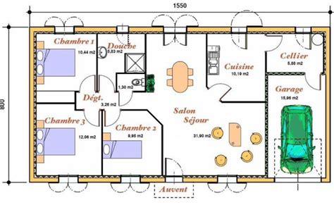plan de maison plain pied avec garage plan pour une maison de plain pied avec 3 chambres et un garage pour 1 voiture cuisine ferm 233 e