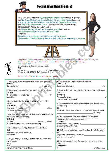 nominalisation 2 esl worksheet by spinney