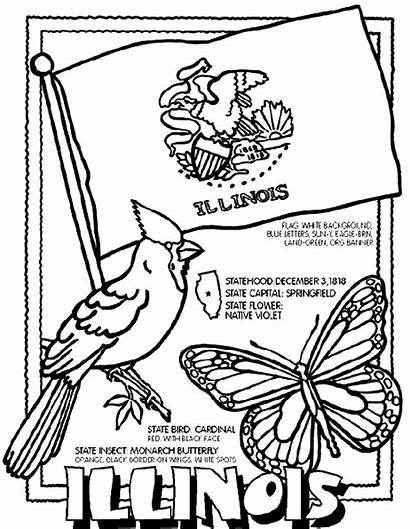 Illinois Coloring Pages Crayola State Flag Sheets