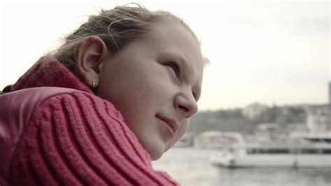 Happy Small Teen Blonde Girl Boat Trip Travel She