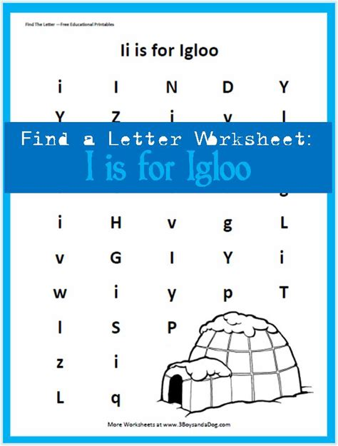 letter of the week find the letter ii is for igloo