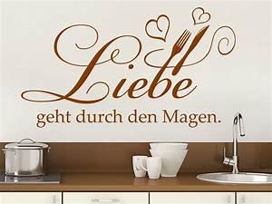 Sprüche Für Die Küche : wandtattoo liebe geht durch den magen mit herzen ~ Watch28wear.com Haus und Dekorationen