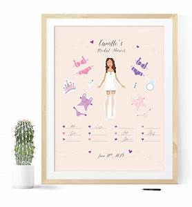 bridal shower guest book with paper doll illustration With wedding shower guest book