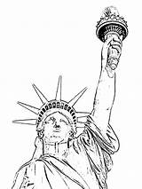 Liberty Statue Coloring Pages Grover Cleveland Lady Drawing Line Print Printable Getdrawings Getcolorings sketch template