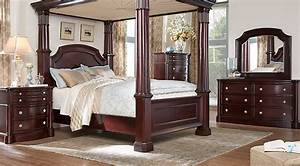 Dumont cherry 6 pc queen canopy bedroom bedroom sets for Bedroom furniture sets george