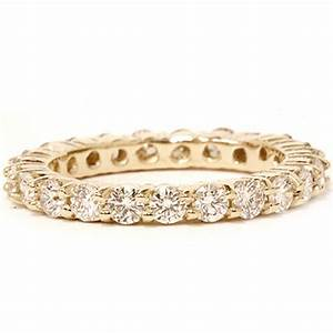 2 ct diamond eternity ring womens wedding band 14k yellow gold With diamond wedding band ring