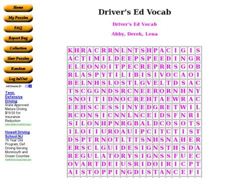 driver s ed vocab worksheet for 6th 8th grade lesson