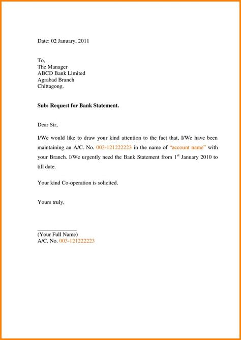 write application letter bank request statement