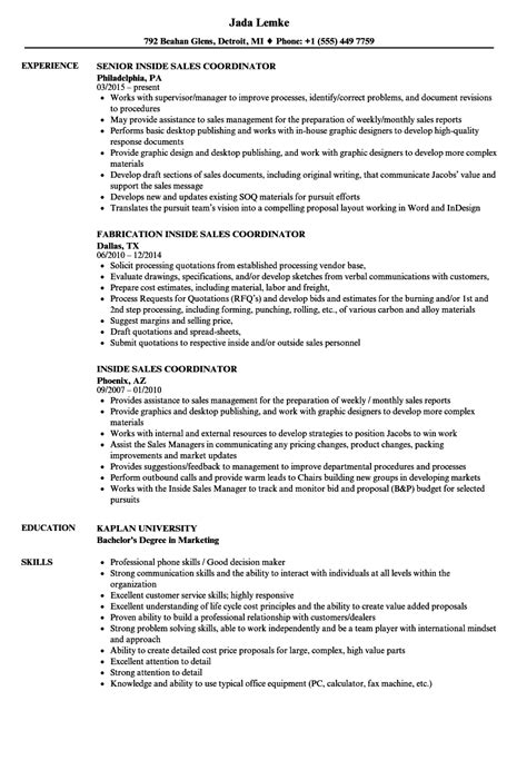 Sales Coordinator Resume by Inside Sales Coordinator Resume Sles Velvet